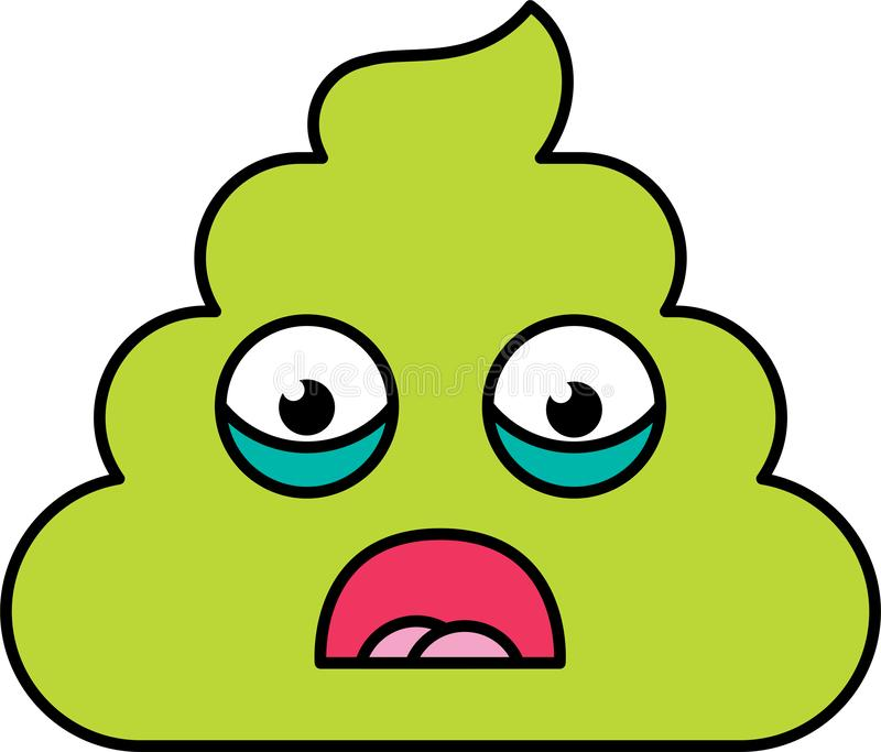 Shocked, scared poop emoji vector illustration royalty free illustration