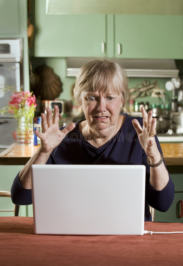 Download Shocked Senior Woman With A Laptop Computer Royalty Free Stock Photo - Image: 6229035