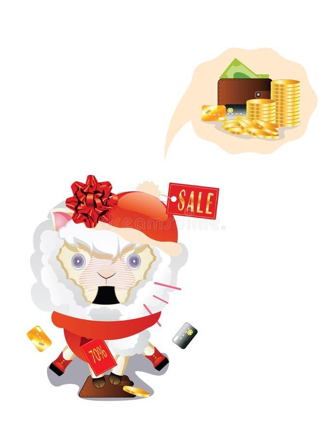 Shocked Shopping Sheep royalty free illustration