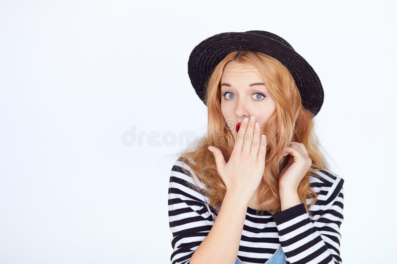 Shocked Surprised Attractive Young Woman royalty free stock photos