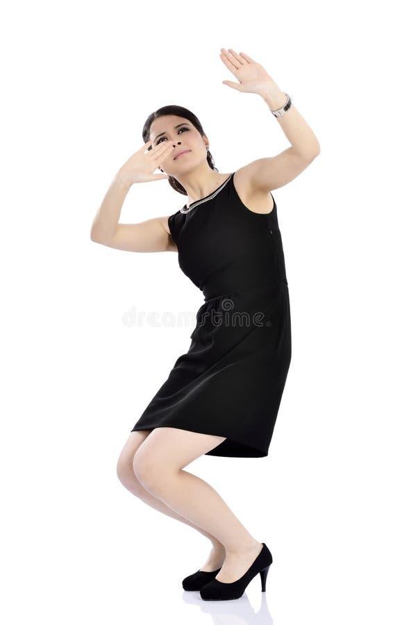 Shocked, surprised beautiful business woman stock photo