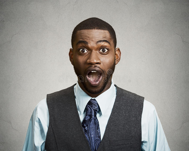 Shocked, surprised business man stock images