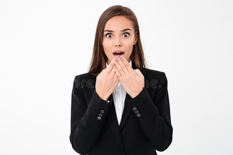 Shocked surprised business woman standing isolated royalty free stock photos