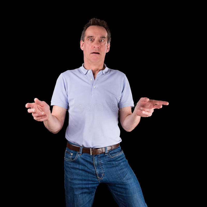 Shocked Surprised Confused Man Hands Raised Royalty Free Stock Image