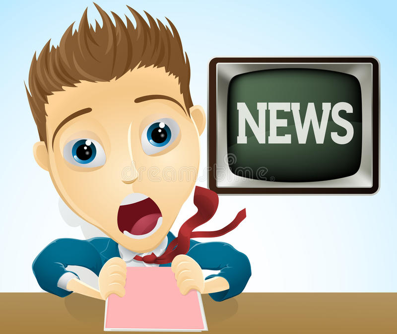 Shocked TV news presenter. An illustration of a cartoon shocked TV news presenter vector illustration