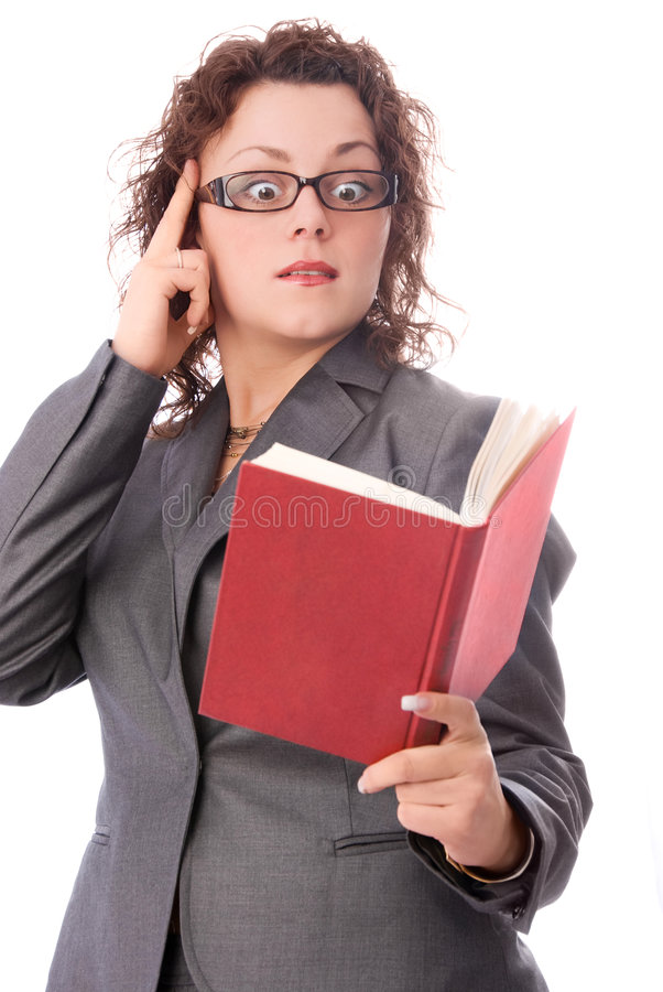 Shocked woman with a book royalty free stock photo