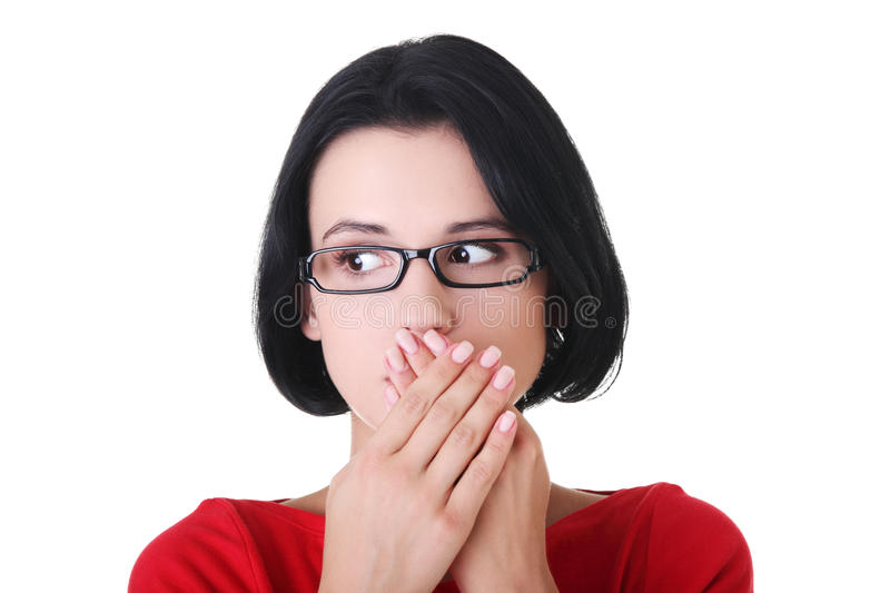 Download Shocked Woman Covering Her Mouth With Hands Stock Photo - Image: 28205114