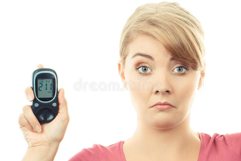 Shocked woman holding glucose meter with bad result of sugar level royalty free stock photos