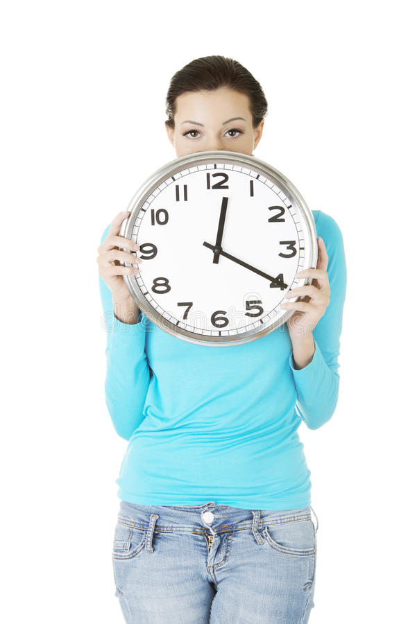 Download Shocked Woman Holding Office Clock Royalty Free Stock Images - Image: 28735689