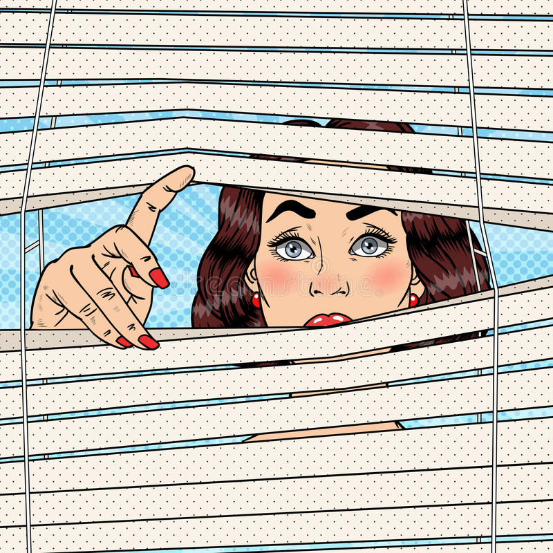 Shocked Woman Looking Through the Blinds. Pop Art retro illustration. Shocked Woman Looking Through the Blinds. Pop Art Vector retro illustration vector illustration