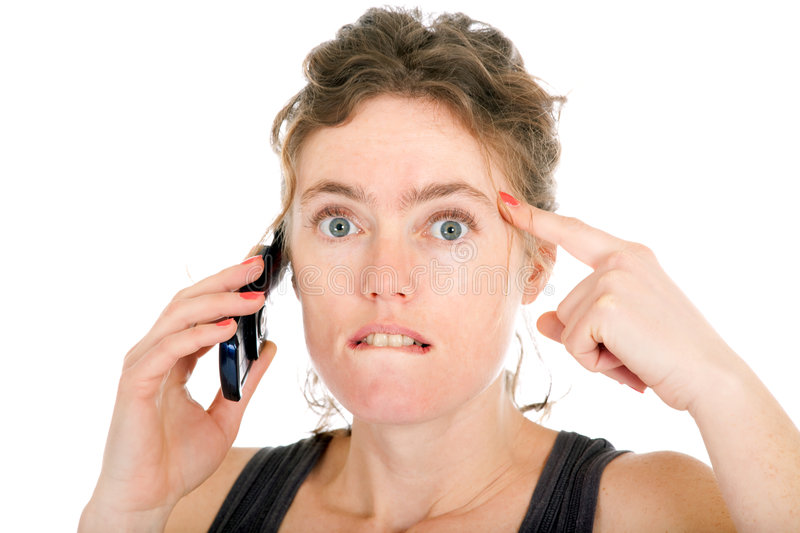 Shocked Woman On Phone Stock Image