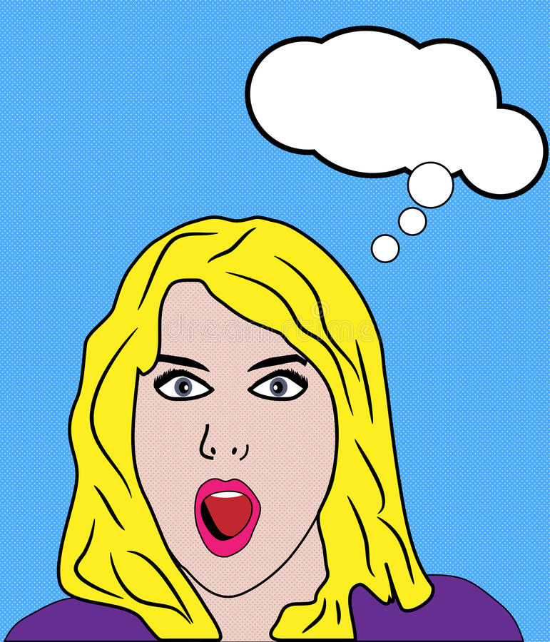 Shocked Woman Retro Pop Art Stock Images