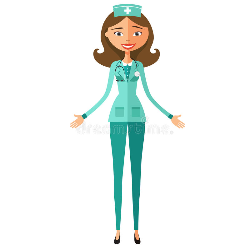 Shocked young doctor. Surprised nurse woman. Extremely excited dentist lady. royalty free illustration