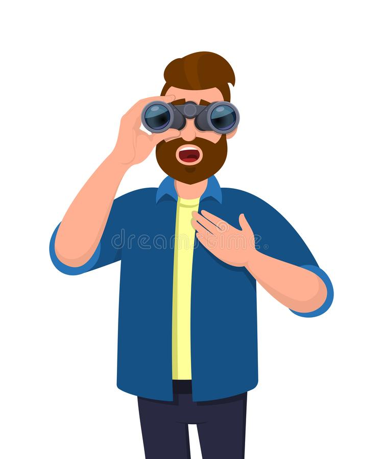 Shocked young man in casual wear looking through binoculars with opened mouth, holding hand on chest. Hipster male character. Shocked young man in casual wear stock illustration