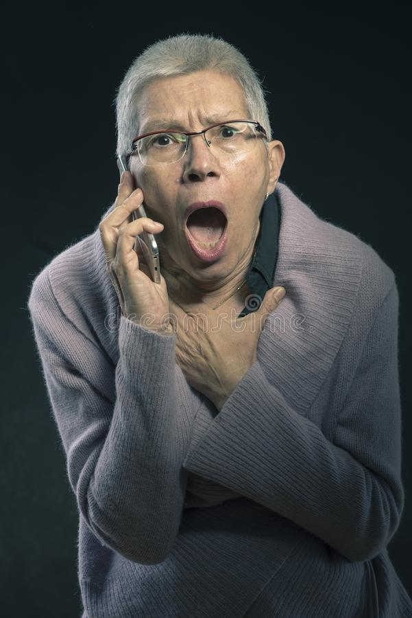 A shocking conversation for a grandma stock image