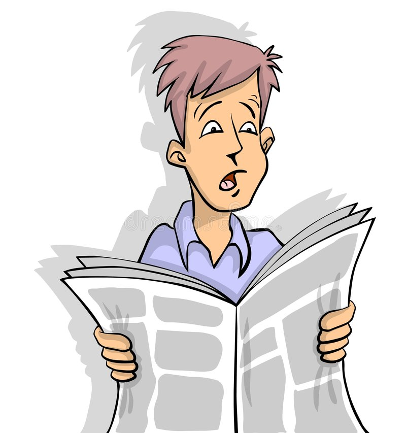Shocking News. Man is reading shocking news in newspaper white background vector illustration