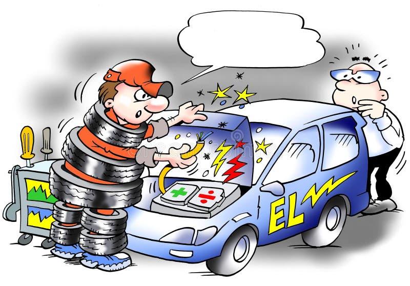Shockproof mechanik w opona kostiumu ilustracji