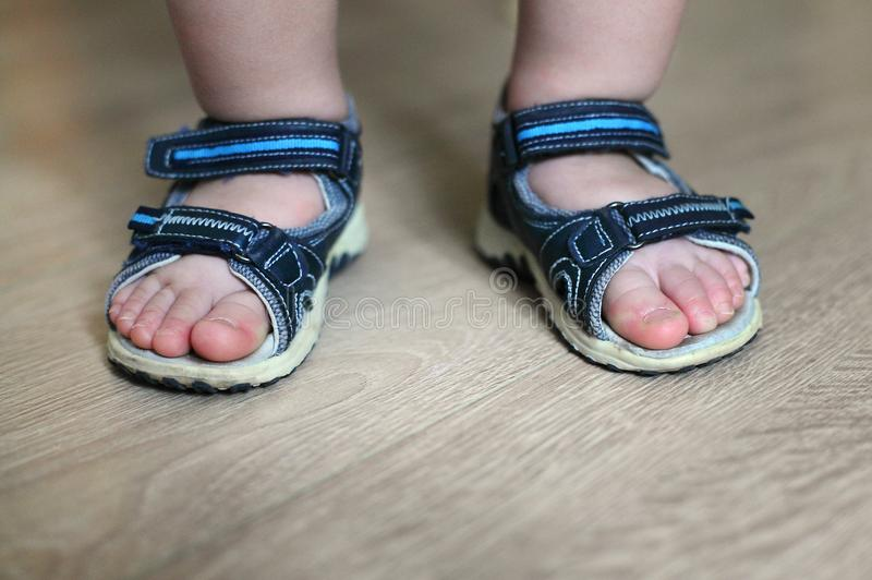 Shod legs of the baby. Children`s sandals on their feet. Toddler shoes. Tourist sandals for the smallest travelers. A new purchase. In a shoe store royalty free stock image