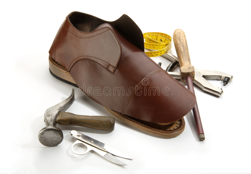 Shoe. A handmade shoe and supplies stock images