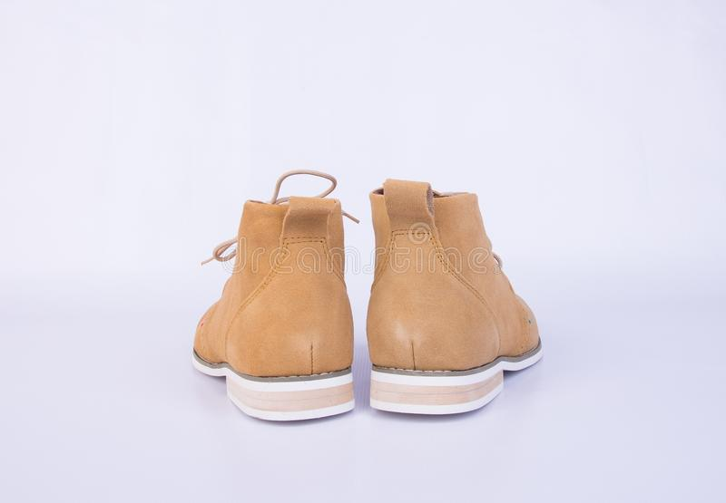 shoe or brown color men's shoes on a background. stock photography