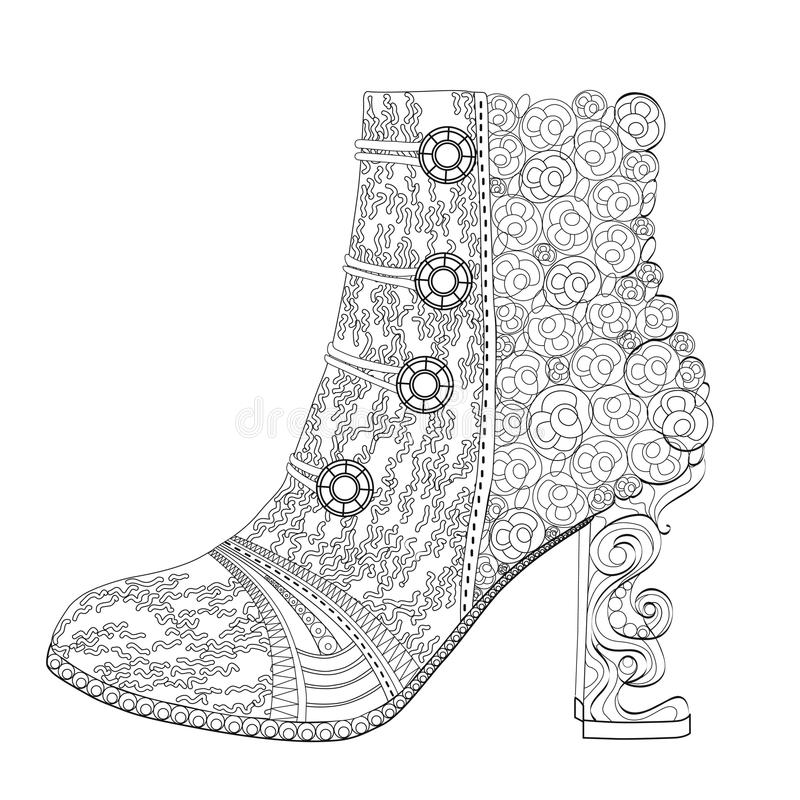 Shoe coloring page for adults. Art Therapy. Line art illustration stock illustration