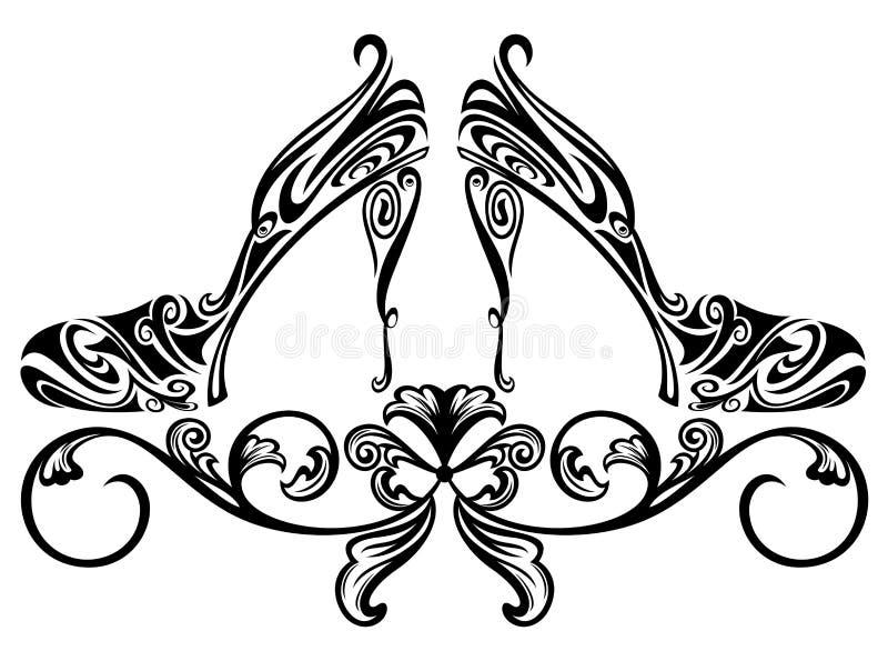 Shoe design. Ornate shoes design element - black and white floral swirls vector illustration royalty free illustration
