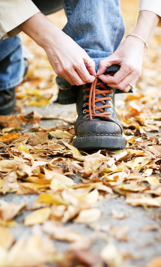 Shoe in fall stock images