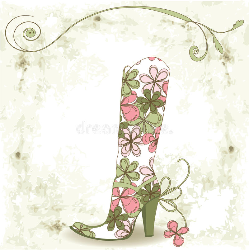 Shoe and flower. Abstract background. Shoe and flower vector illustration