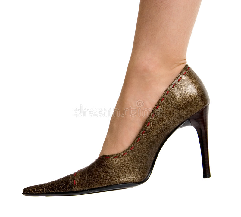 Shoe with high heel. On white royalty free stock photography