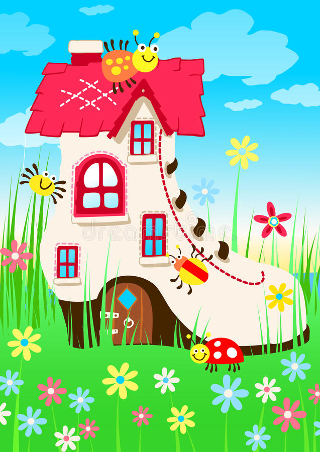 Free Shoe House With Bugs And Flowers Stock Image - 64524131