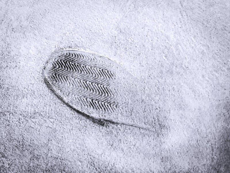 Shoe Imprint on Concrete Cement Floor stock photos