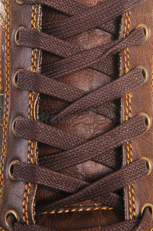 Shoe laces in close-up stock image