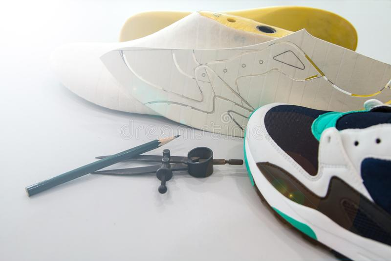 Shoe maker equipment for shoe designer royalty free stock photos