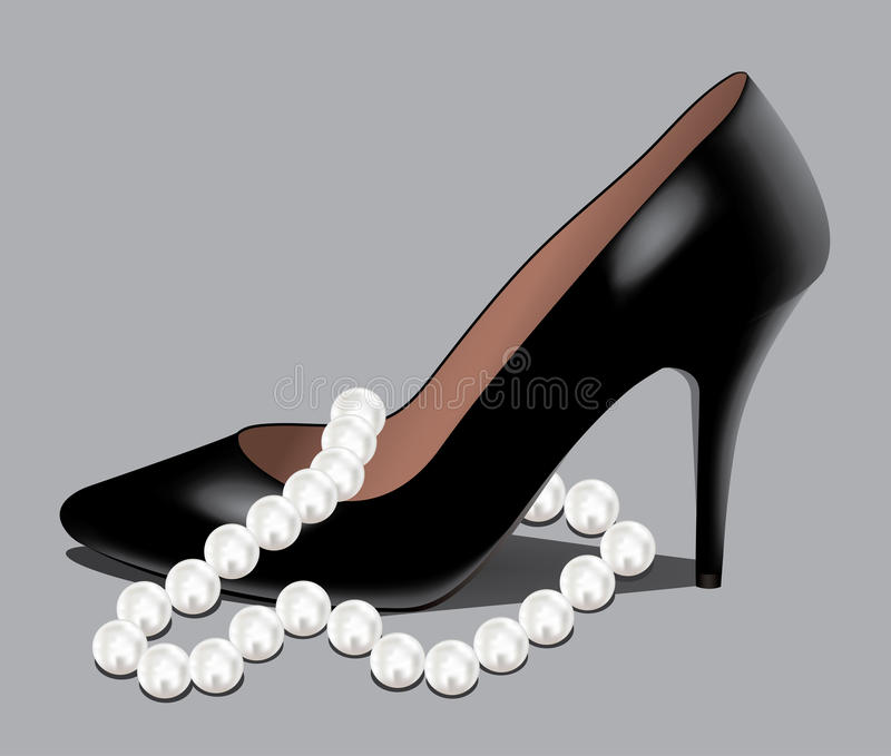 Download A shoe and pearl beads stock vector. Image of high, luxury - 18184741