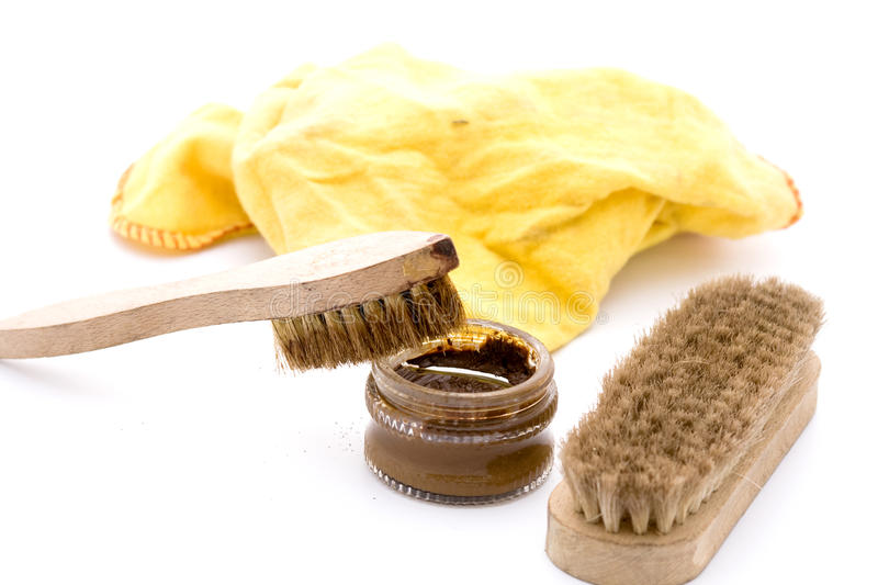 Shoe polish in brown royalty free stock photo