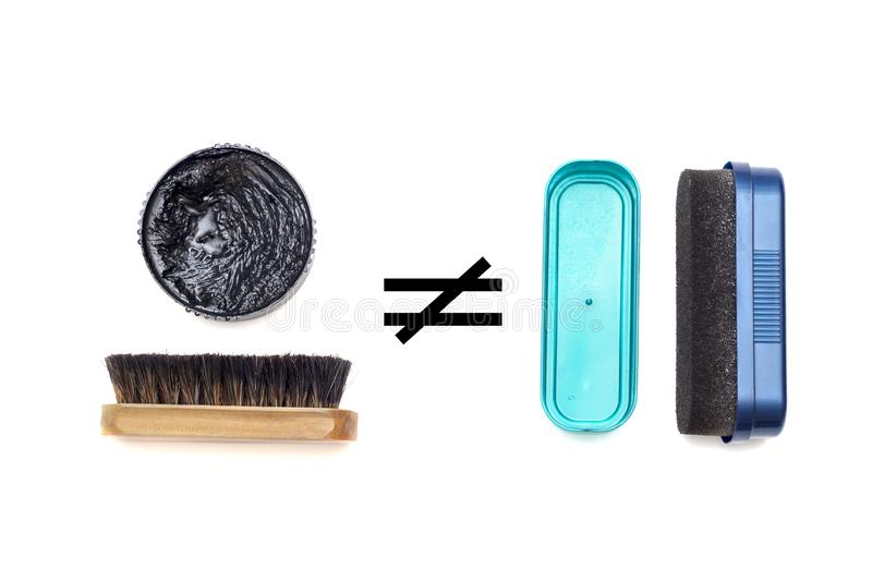 Shoe polish and sponge are not the same royalty free stock photography
