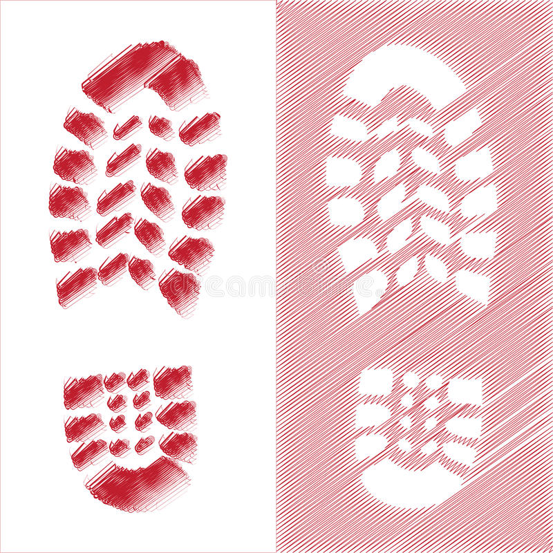 Shoe print illustration royalty free stock photos