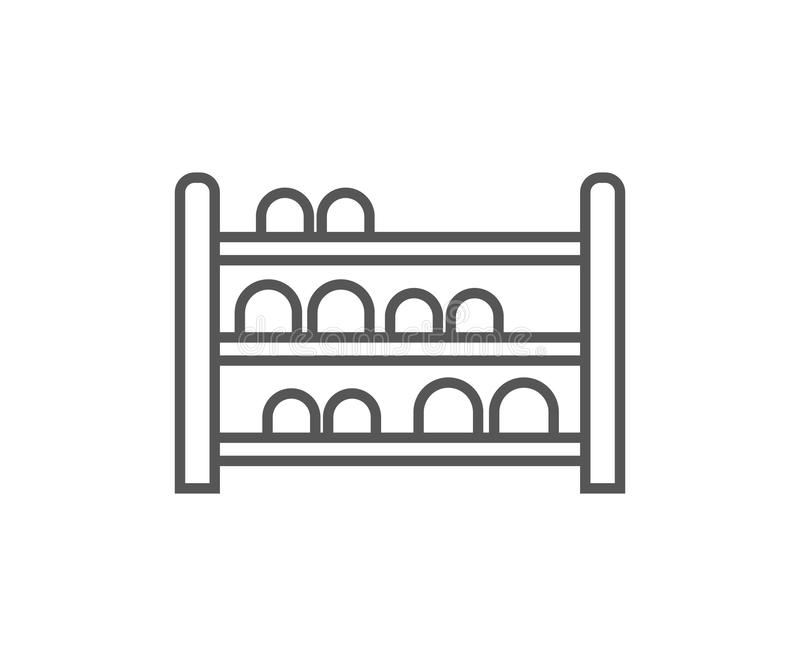 Shoe rack isolated icon in linear style royalty free illustration