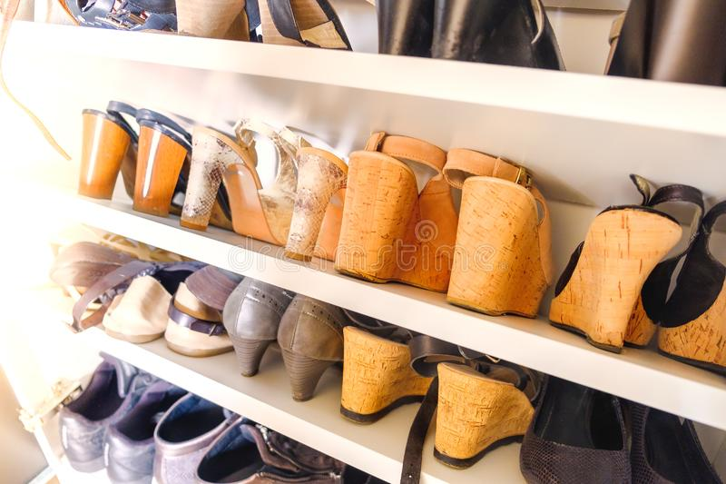 Shoe rack women heels shoes cork wooden heels stock images