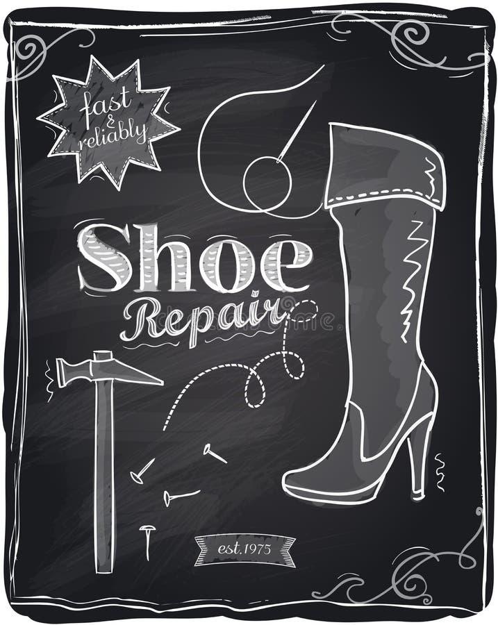 Shoe repair chalkboard. Shoe repair chalkboard background stock illustration