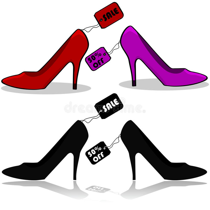 Shoe sale. Icons showing women's shoes with tags showing they're on sale vector illustration
