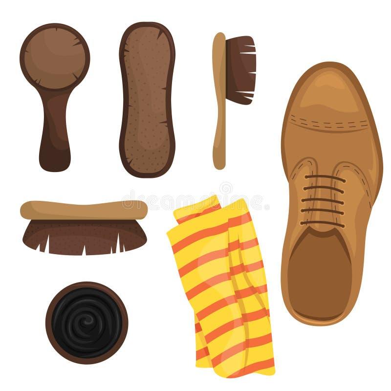 Shoe Shine Kit Bürsten, Schwämme, Schuhpolnisch Vector-Illustration lizenzfreie abbildung