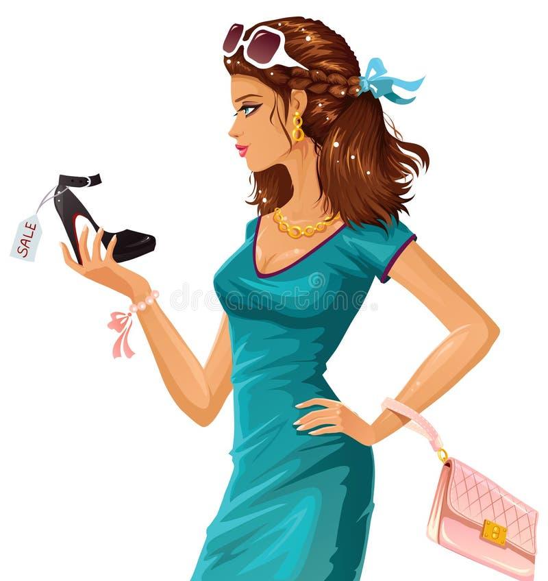 Shoe shopping. Beautiful shopper choosing herself a shoe