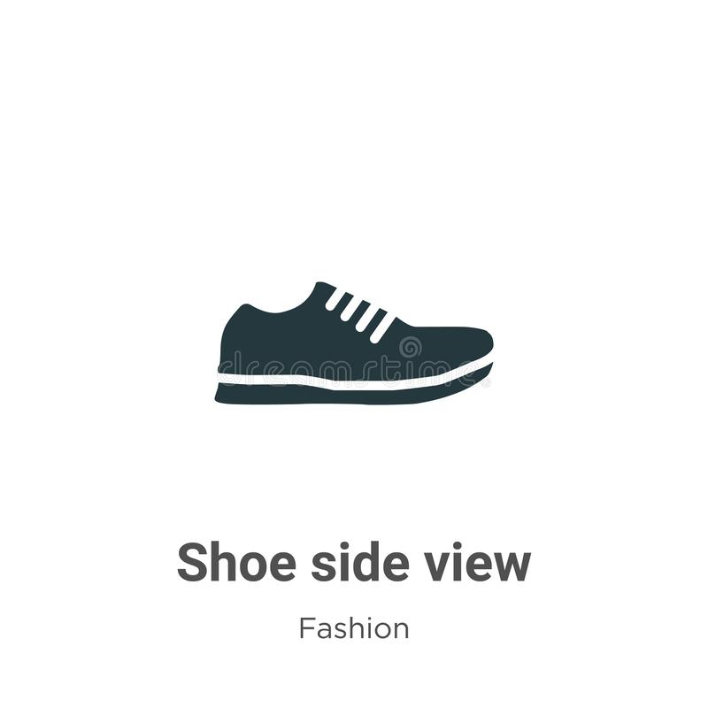 Shoe side view vector icon on white background. Flat vector shoe side view icon symbol sign from modern fashion collection for royalty free illustration