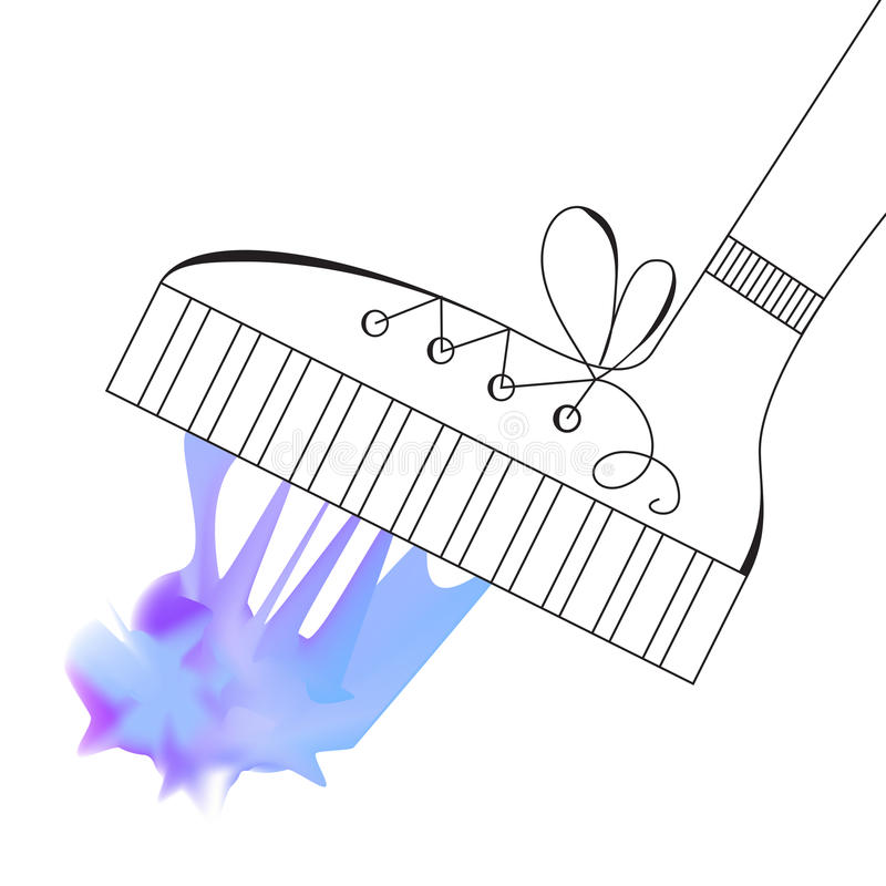 Shoe Steps into Blue Mesh Chewing Gum. Vector Sketch. On White Background vector illustration