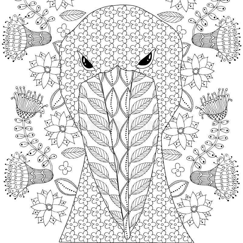 Shoebill bocianowy zenart dla antistres strony dla dorosłego i dziecko kolorystyki książki, Monochromatyczny projekt royalty ilustracja