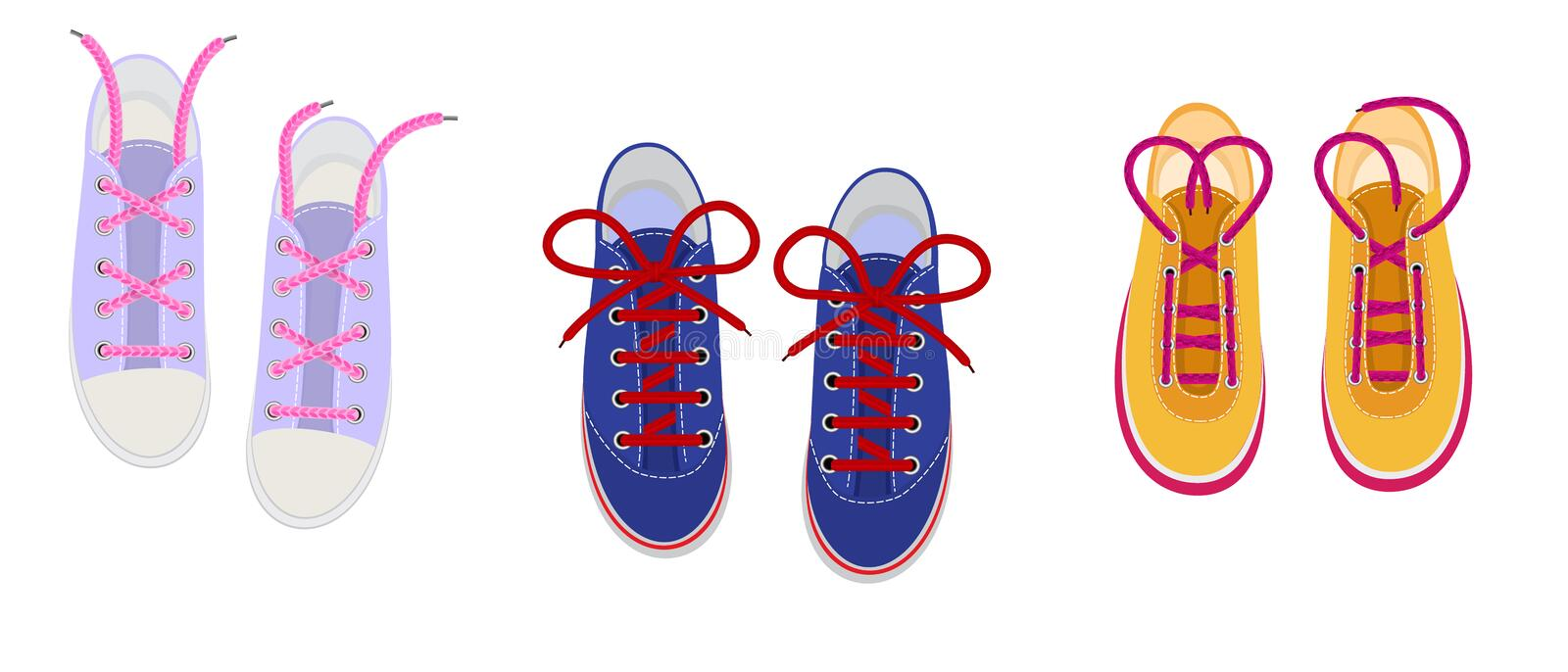Shoelaces on snickers vector shoestring or shoe-laces and fashion accessory for footwear or footgear illustration set of. Shoes strings knot or ropeisolated on stock illustration