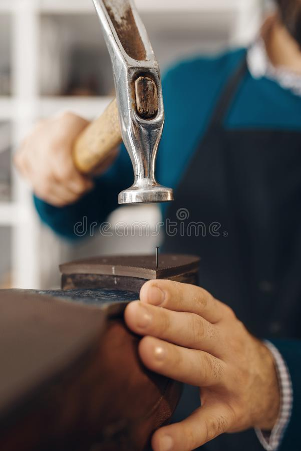Shoemaker knocks the heel, shoe repair service. Shoemaker knocks the heel of the shoe, footwear repair service. Craftsman skill, shoemaking workshop, master royalty free stock image