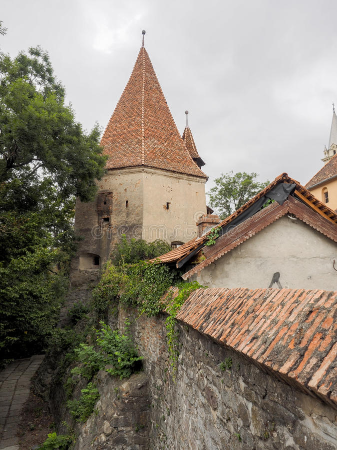 The Shoemakers` Tower. Turnul Cizmarilor The Shoemakers` Tower and a part of the medieval fortifications of Sighisoara citadel stock images