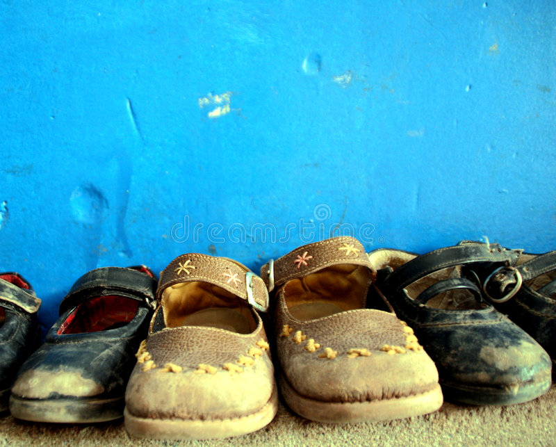 Shoes. Of kids in school, south america royalty free stock photos